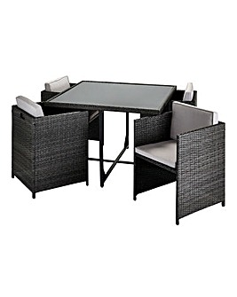 Buxton 4 Seat Rattan Cube Dining Set