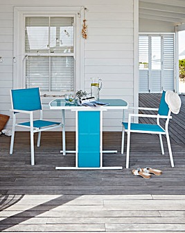 Capri 3 Piece Compact Dining Set Blue