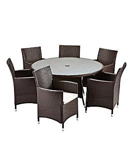 Alderley 6 Seat Round Dining Set Brown