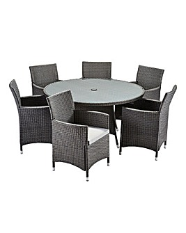 Alderley 6 Seat Round Dining Set Grey