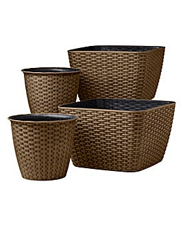 Rattan Effect Planters Set of 4