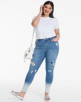 Chloe Bleached Hem Skinny Jeans Reg