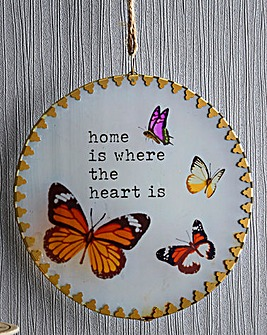 Glass Butterfly Home Plaque