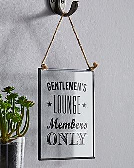 Gentlemans Lounge Glass Plaque