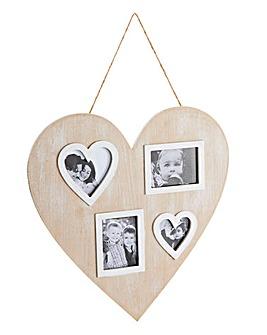 Wooden Heart Multi Aperture Photo Frame