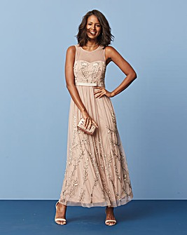 Bamboo Embellished Beaded Maxi Dress
