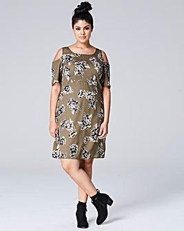 Khaki Floral Cut Out Shoulder Dress
