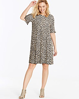 Animal Print Frill Jersey Swing Dress