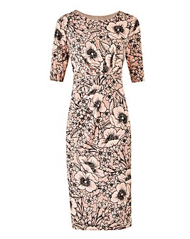 Nude Floral Print Drape Front ITY Dress