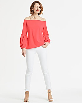 Balloon Sleeve Bardot Top