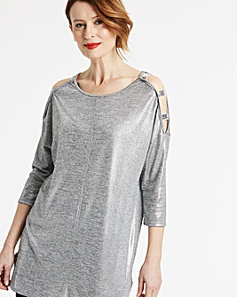 Metallic Cold Shoulder Sequin Tunic