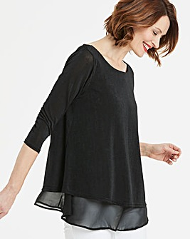 Woven Overlay Jersey Top