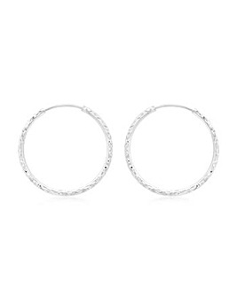 9Ct Gold 27mm Diamond Cut Hoop Earring
