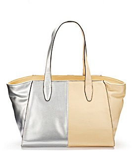 Metallic Colour-Block Tote Bag