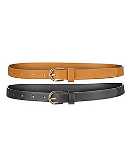 Pack of 2 Black/Tan Jeans Belts