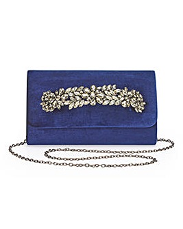 Joanna Hope Navy Velvet Clutch Bag