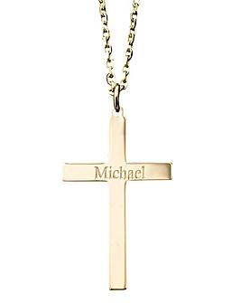 9 Carat Gold Personalised Cross Pendant