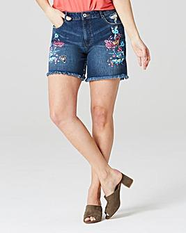 Evie Painted Badge Denim Shorts