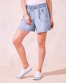 Pull-On Lyocell Denim Shorts