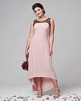 Joanna Hope Sequin Trim Dipped Hem Dress