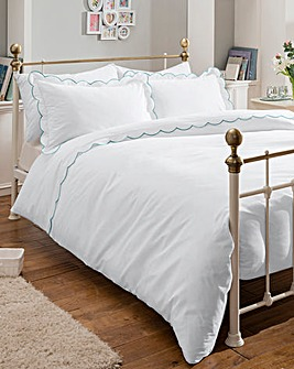 Embroidered Scalloped Trim Duvet Cover