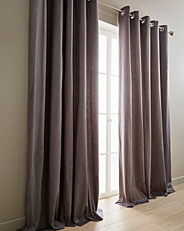Plain-Dye Sateen Lined Eyelet Curtains