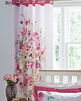 Bright Floral Eyelet Lined Curtains