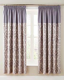 Thea Jacquard Lined Pencil Pleat Curtain