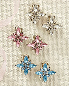 Floral Clip Earrings 3 Pairs