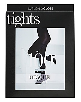 2 Pack 100 Denier Opaque Navy Tights