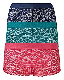 3 Pack Lace Midi Shorts