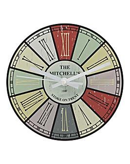 Personalised Multi Colour Family Clock