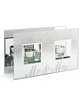 Mr & Mrs Glitter Tealight Holder
