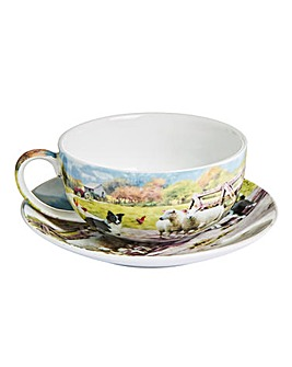 Collie and Sheep Cup and Saucer