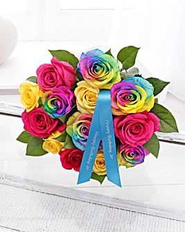 Personalised Large Rainbow Roses