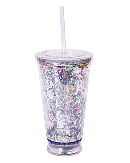 Light Up Disco Glitter Straw Cup