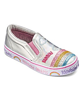 Girls Rainbow Slip On Pumps