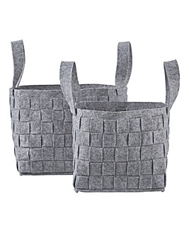 Set of 2 Felt Woven Basket