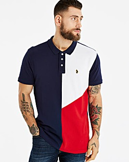 Luke Dark Navy Abstract Panel Polo R