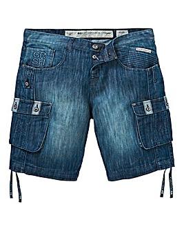 Crosshatch Denim Shorts