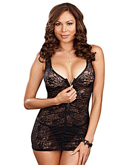 Dreamgirl Zip Front Lace Chemise