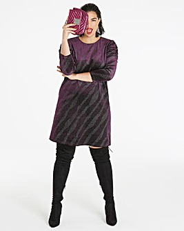 Purple Gathered Sleeve Bodycon Dress