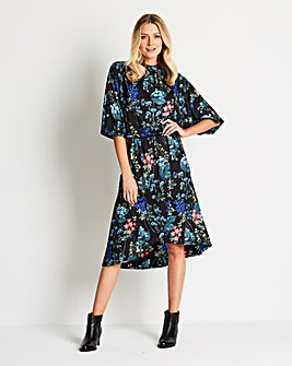 Kimono Sleeve Dress with Wrap Skirt