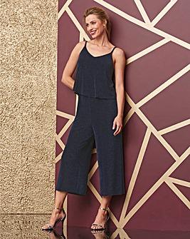 Black/Blue Glitter Layer Jumpsuit