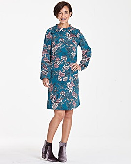 Blue Floral Frill Shoulder Shift Dress