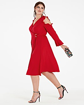 Wrap Dress with Ruffle Sleeve