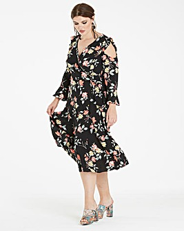 Wrap Dress with Ruffle Sleeve detail