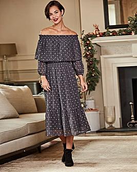 Grey Spot Layered Bardot Dress
