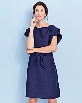 Flute Sleeve Linen Dress