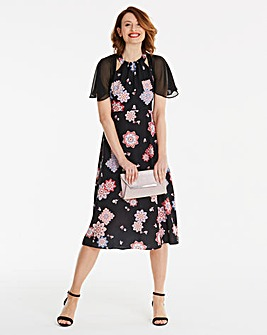 Cape Sleeve Midi Dress